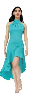 £6 • Buy City Goddess High Low Frill Dress Fashion Turquoise Size 10