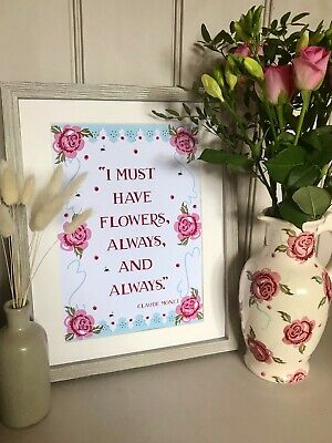 £9.99 • Buy Emma Bridgewater Rose And Bee Inspired Claude Monet Quote A4 Print