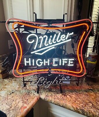 """$185 • Buy Neon Sign Flashing Motion Neon Miller High Life Beer 26""""x25""""  New In The Box"""