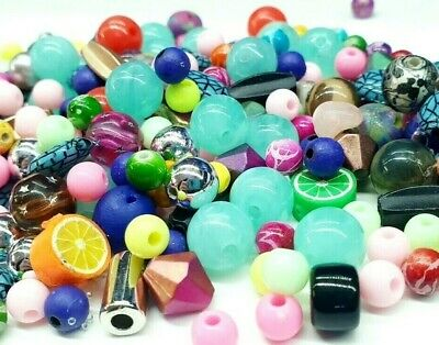 £2.99 • Buy X100 Assorted Acrylic Bead Mix Jewellery Making Mixed Colour Beads 4mm-10mm
