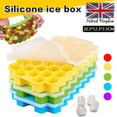 £3.99 • Buy Ice Cube Tray Mould With Lid Honeycomb Shape 37 Grids Food Safe Grade Silicone