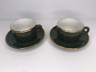 £14.99 • Buy Apilco Green French Bistro Pair X2 Coffee Cups & Saucers - NO # 3 & 4