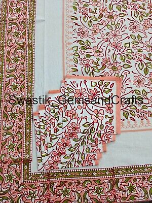 £31.99 • Buy Indian Floral Block Prints Cotton Tablecloth French Provence Dinning Table Decor
