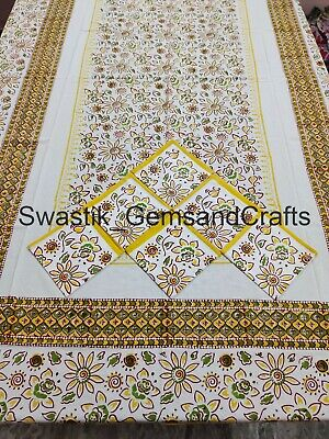 £31.99 • Buy French Provence Dinning Table Decor Indian Floral Block Prints Cotton Tablecloth