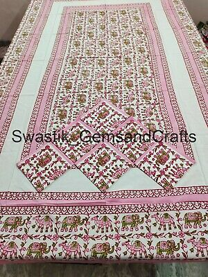 £31.99 • Buy Indian Floral Block Print Cotton Table Cover French Provence Dinning Table Decor