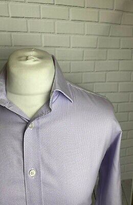 £9.99 • Buy Tm Lewin Shirt Purple Houndstooth 16  - 36  NON IRON Slim Fit Double Cuff