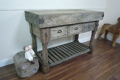 £649 • Buy Large Farmhouse Style Butchers Block Bench In A Weathered Oak Finish