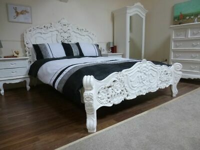 £749 • Buy French Rococo King Size Bed In White - Shabby Chic Style King Size Bed