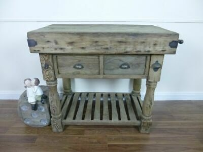£529 • Buy Farmhouse Style Butchers Block Bench In Weathered Oak Finish - Solid Wooden Top