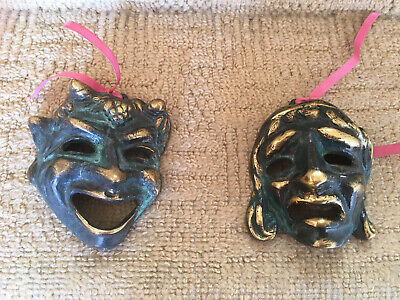 £24.99 • Buy Vintage Brass Greek Play Masks - Comedy And Tragedy Greek Mask Wall Hangings