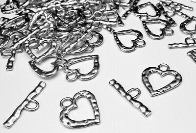£2.99 • Buy 5 Large Silver Plated Heart Toggle Clasps Jewellery Making Clasps Silver Hearts