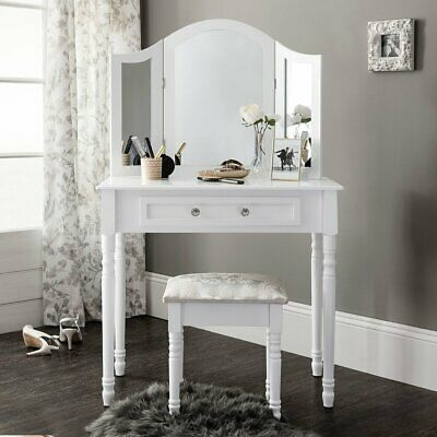 AU128.25 • Buy Dressing Table Stool Mirror Jewellery Cabinet Drawers Tables Organizer White