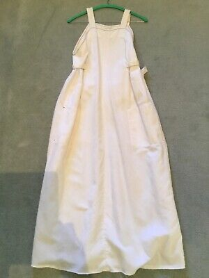 AU290 • Buy Scanlan Theodore White Linen Ties At Back Dress Blue Stitching Size 8 Smock