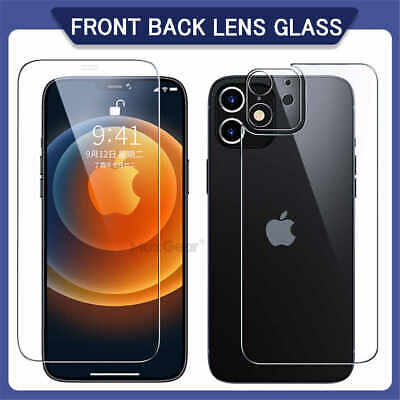 £3.49 • Buy F+B+Camera Lens Tempered Glass Screen Protector For IPhone 12 11 Pro Max X Cover