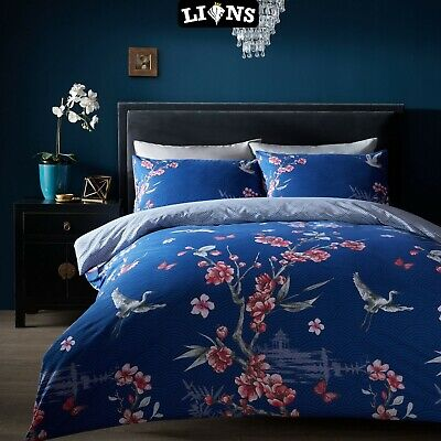 £16.99 • Buy NAVY DUVET COVER SET Akira Floral Bedding Easy Care Quilt Covers All Size