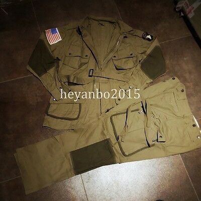 $87.29 • Buy WWII US ARMY M1942 M42 AIRBORNE PARATROOPER JUMPSUIT JACKET TROUSERS SET XL Only