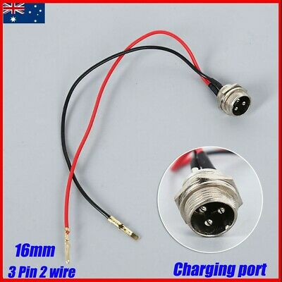 AU9.99 • Buy 3 Pin 2-Wire Electric Scooter Charging Port Battery Charger Cable Connector 16mm