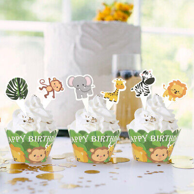 £2.69 • Buy 24pcs Cupcake Toppers Wrappers Stand-up Fairy Cake Decor Jungle Animal Donuts