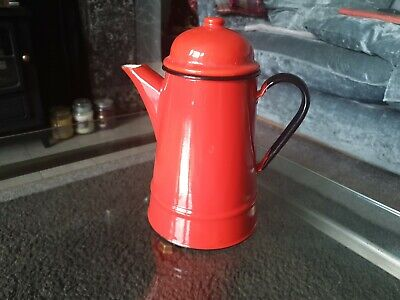 £19.99 • Buy Vintage Red Enamel Coffee/Tea Pot With Lid, 10  Tall, Made In Poland, VGC