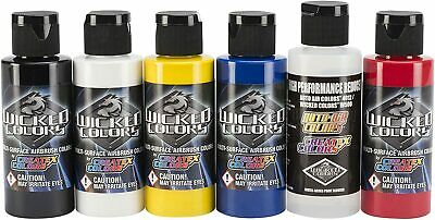 £46.99 • Buy Createx Wicked Colors Primary Airbrush Paint Set W101