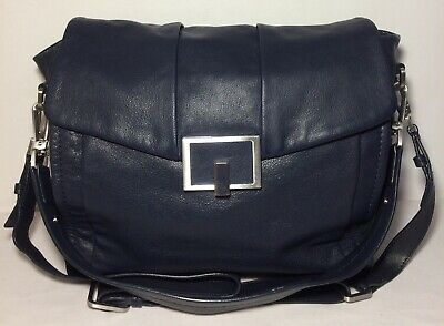 £26.95 • Buy M&S Autograph Navy Blue Genuine Leather Two Strap Crossbody/shoulder Or Tote Bag