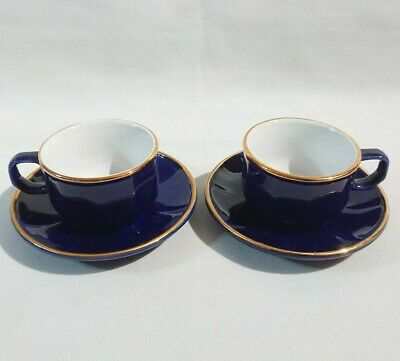 £15.95 • Buy Vintage Martell Cognac Blue Gold Rims Coffee Expresso Tea Cups And Saucers X 2