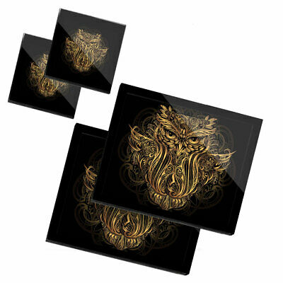 £34.99 • Buy 2x Glass Placemates & Coasters - Majestic Golden Owl Face  #45653