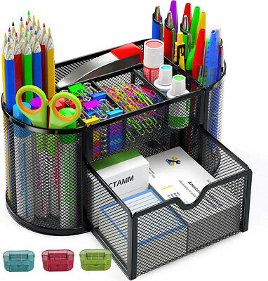 £7.59 • Buy Pencil Tray Mesh Pen Holder Stationery Container Storage Desk Tidy Organiser