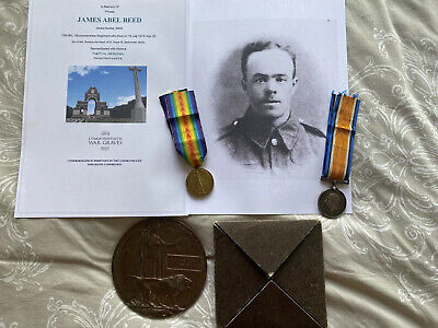 £400 • Buy WW1 Medals Death Penny BWM & Victory KIA Reed Thiepval Memorial Bristol Somme