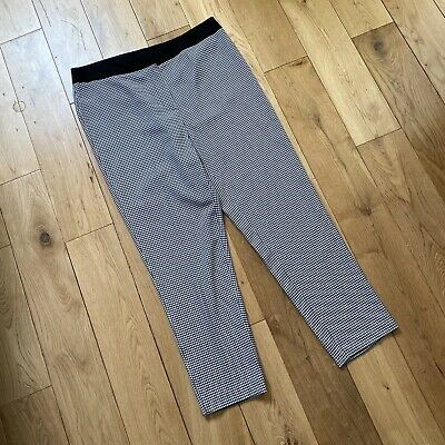£6.99 • Buy Marks & Spencer Black White Dogtooth Check Tapered Crop Trousers Size 14