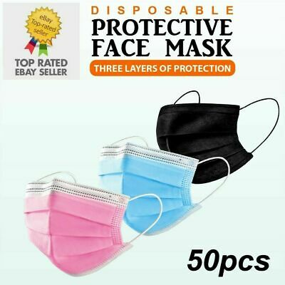 £3.95 • Buy 50 X Disposable Face Masks 3 Ply Dental Non Medical Surgical Mask Covering UK