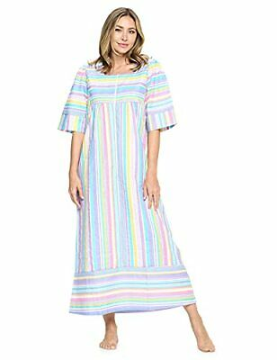 £32.50 • Buy  Womens Zip Front 3/4 Sleeves Woven House Dress,Robe Small Stripe Multicolored