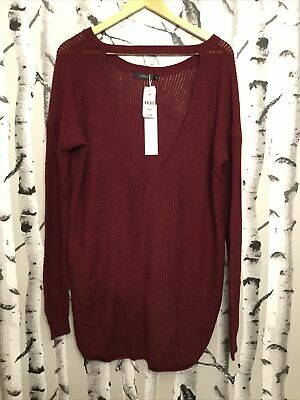 $40 • Buy Millau Women's Knitted Oversized Sweater Color Burgundy Size S(41)