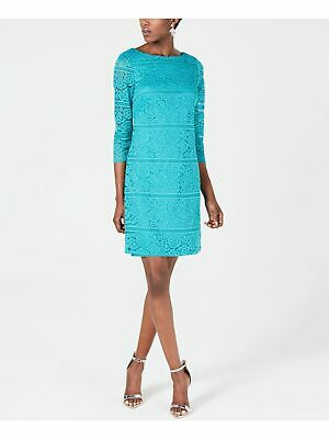 £19.11 • Buy JESSICA HOWARD Womens Turquoise 3/4 Sleeve Above The Knee Shift Dress Size: 16