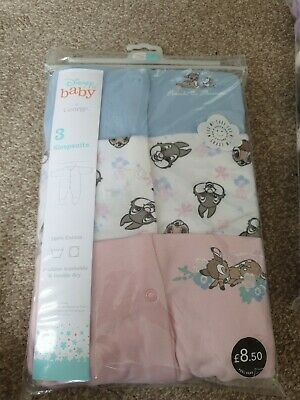 £7.50 • Buy Disney Bambi Pack Of 3 Sleepsuits 9-12 Months