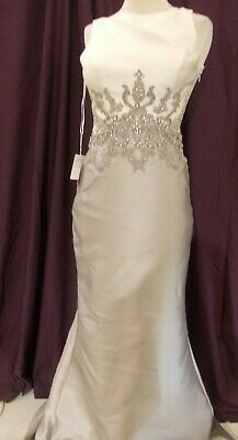 AU64.57 • Buy Long Special Occasion/bridesmaid Dress Size 10 Ivory And Taupe
