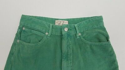 £15.95 • Buy Free People Aces High Straight Leg Cord Trousers Jeans. Size 27 W. Green
