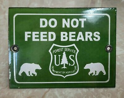 $ CDN94.73 • Buy Vintage Us National Forest Service Do Not Feed Bears Porcelain Rv Camping Sign