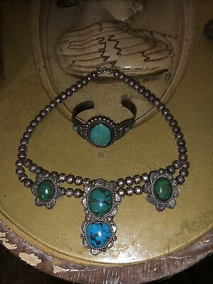 $ CDN364.37 • Buy Vintage Sterling Silver Turquoise Squash Blossom Necklace And Bracelet Heavy