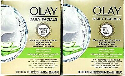AU27.59 • Buy 2 Boxes Olay Daily Facials 5 In 1 Sensitive Clean 33 Water Activated Dry Cloths