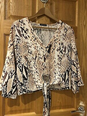 £1.30 • Buy Ladies I Saw It First Snakeskin Look Long Sleeve Flare V Neck Top Size 10