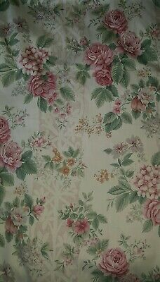 £21.40 • Buy Vintage Curtains Floral Country House Roses Pair 64Wx54L Inches