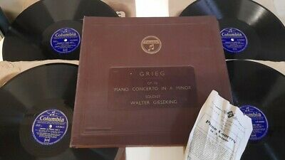 £9.99 • Buy Vintage Columbia 78 Rpm Grieg Piano Concerto In A Gieseking *ex 4x Record Lx8339