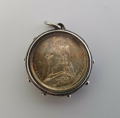 £80 • Buy Antique Victorian James Allen Silver 1889 Sixpence Coin, Pendant, Charm, Locket