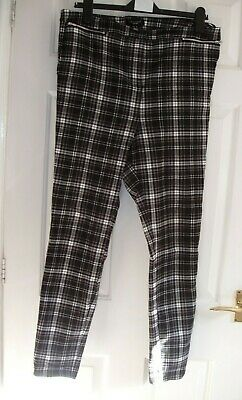 £7.99 • Buy New Look Curves High Waist Black White Check Stretch Jeans Trousers Pockets 18