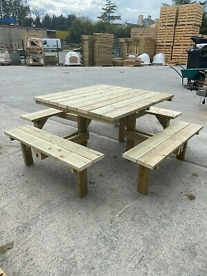 £320.99 • Buy Quality Wooden Square Pub 8 Seater Picnic Table 28mm Pressure Treated Bench
