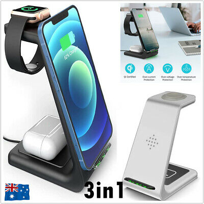 AU36.99 • Buy 3 In1 Charging Dock Station Charger Stand For AirPods Apple Watch IPhone Samsung