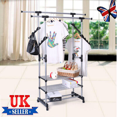 £11.79 • Buy Adjustable Double Rail Clothes Hanging Display Stand Shoes Rack With Wheels UK