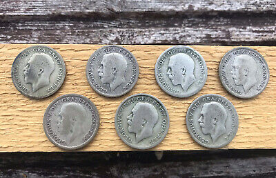 £6.25 • Buy 7 X SIXPENCE Pieces GEORGE V - 6d, Job Lot Of Seven