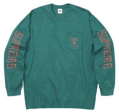 $ CDN133.60 • Buy SUPREME X SOUTH2 WEST8 *DS* L/S POCKET T-SHIRT SMALL TEAL SS21 ~BRAND NEW~